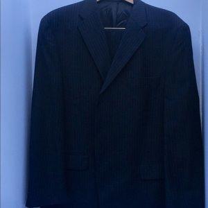 Men's 46 Short Black Wool Pin stripe Suit